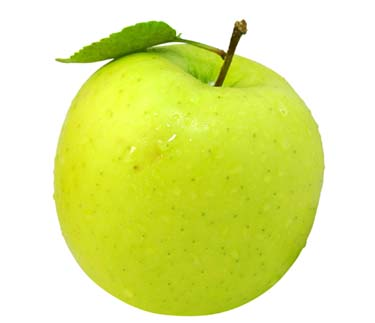 fresh apple with green leaf